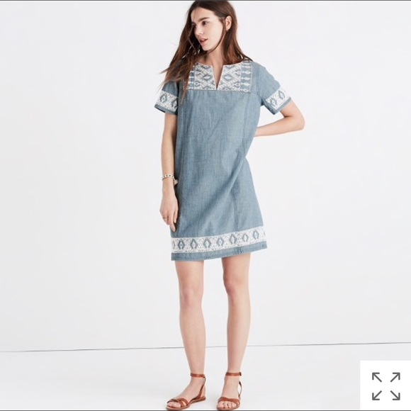 4ac32792655 Madewell Dresses   Skirts - Embroidered chambray tunic dress by Madewell
